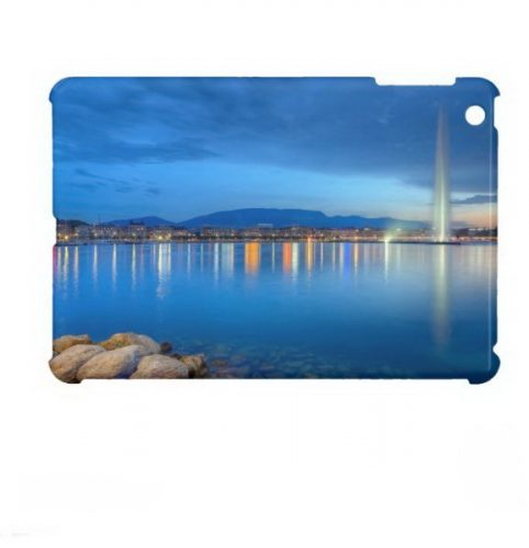 Geneva panorama with famous fountain, Switzerland, iPad Mini Case