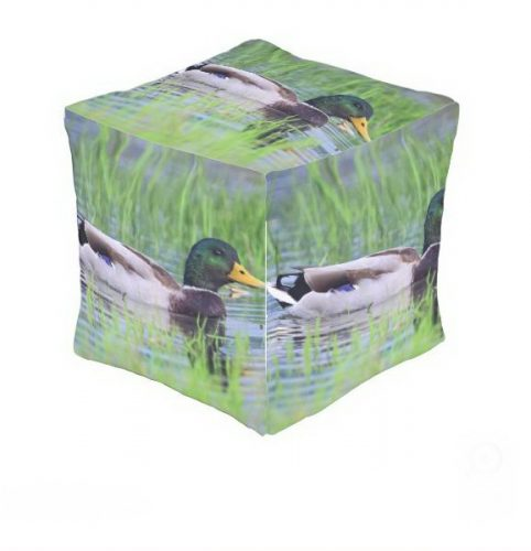 Male mallard duck floating on the water outdoor pouf