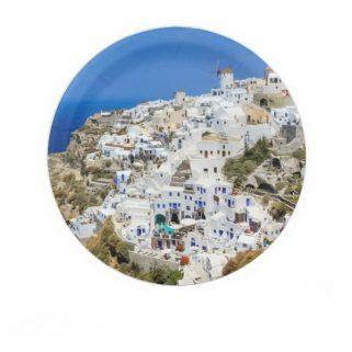 Oia village on Santorini island, north, Greece Paper Plate
